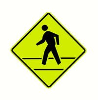 Crosswalk road sign.