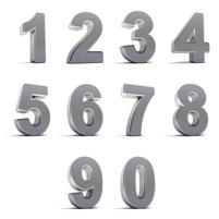 Numerals 0 to 9 to illustrate sorting.