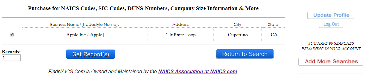NAICS FAQ | SIC FAQ | Company Lookup FAQ | NAICS Association
